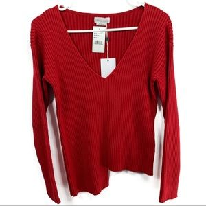 Lovers+Friends Uma V-Neck Step Hem Red Sweater XS